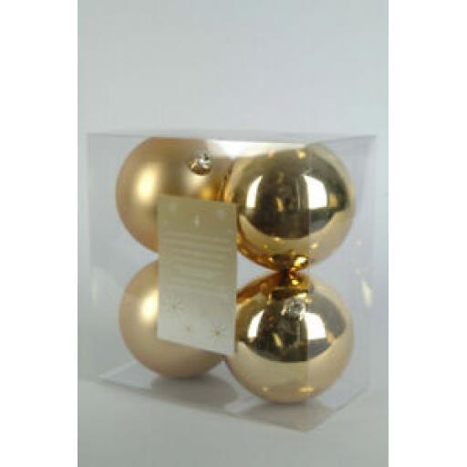 Kaemingk Decoris Baubles 100mm Pk 4 Light Gold 722462