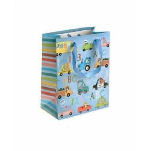 "Medium Birthday Gift Present Bag Pk 10 Bags Toy Cars 7"" x 9"""