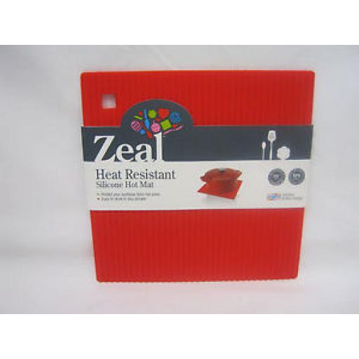 CKS Zeal Heat Resistant Silicone Kitchen Hot Mat Square Trivet J238 Red 18cm