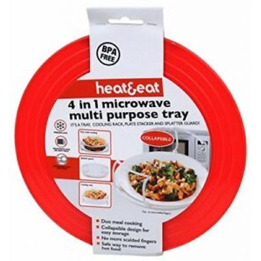 Microwave Heat And Eat 4 In 1 Multi Purpose Tray Red PP355