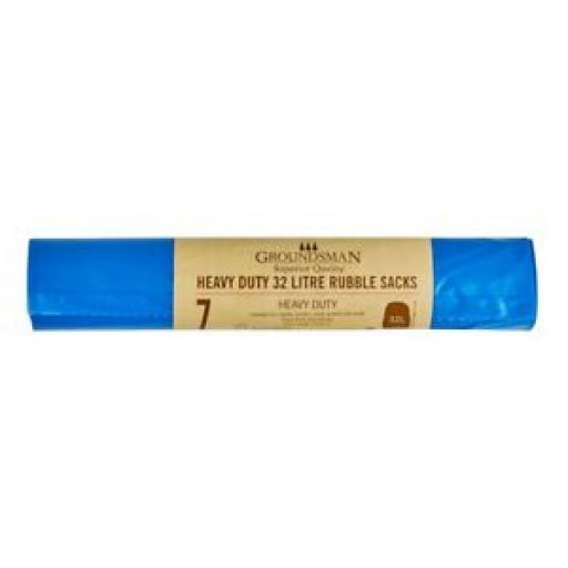 Groundsman Heavy Duty 32 Litre Rubble Sacks Bags Pk 7 Blue 344362