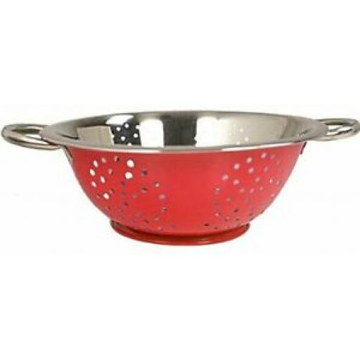 Zodiac Stainless Steel Colander 2 x Side Handles 24cm Red Painted Exterior