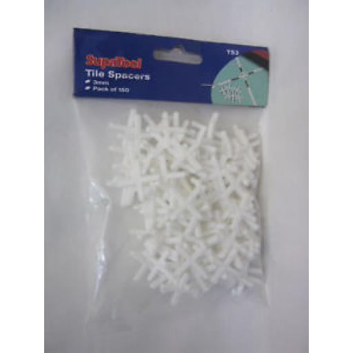 Supatool Plastic White Ceramic Tile Spacers 3mm Pk 150 TS3
