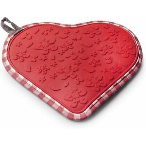 Zeal Heat Resistant Silicone Hot Grab Mat Heart Trivet V110 Red Gingham 22cm