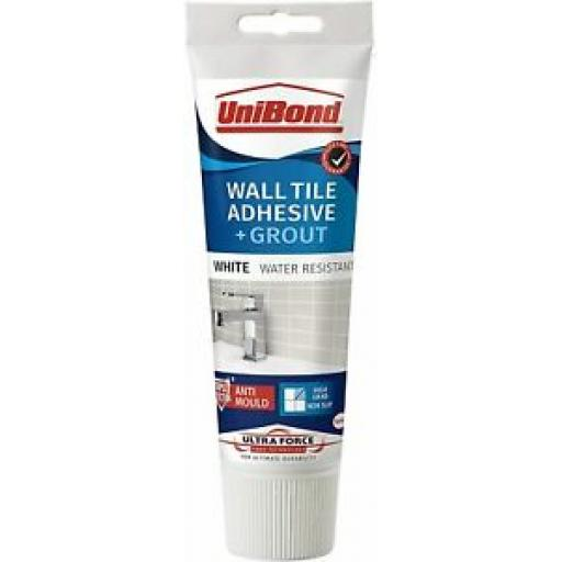 Unibond Wall Tile Adhesive And Grout Tube White Triple Protection Anti Mould 300