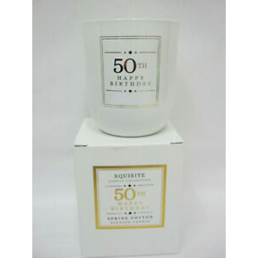 Xquisite Spring Cotton Scented Candle Glass Jar 50 TH Happy Birthday DC005