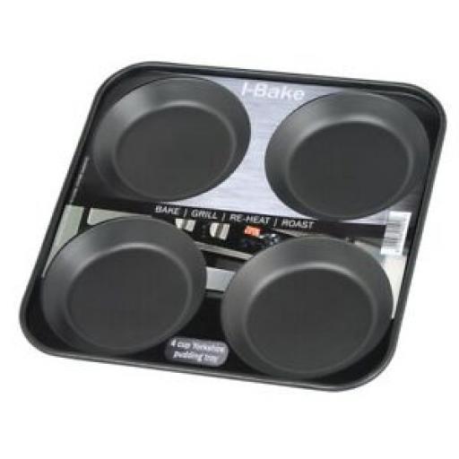 I - Bake Bakeware Black 4 Hole Yorkshire Pudding Tin Tray 5501