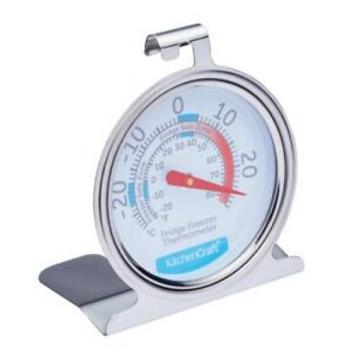 Kitchencraft Fridge Freezer Thermometer Temperature Gauge Round Stainless Steel