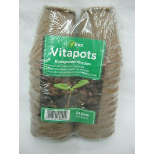 Vitax Vitapots Biodegradable Fibre Pots 6cm Round Pk 24
