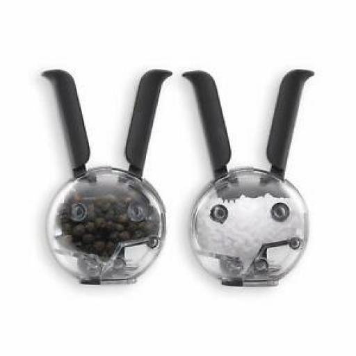 Chef'n Salt And Pepper Mini Magnetic Grinder Set Black Handles