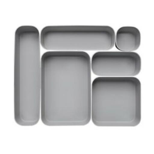 Curver Infinity Divider Desk Draw Drawer Tidy organiser Set 6 Grey Plastic