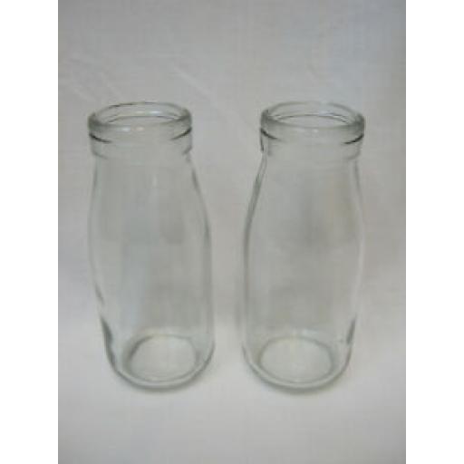 Traditional School Style Glass Milk Bottle Bottles 250ml Pk2