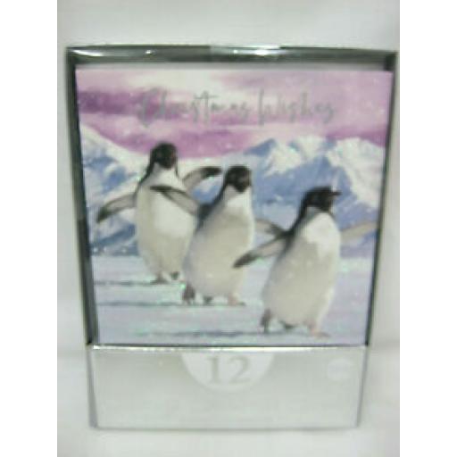 Eurowrap Luxury Christmas Cards Polar Bears Penguins Pk 12