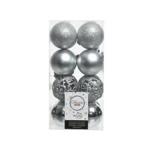 Decoris Kaemingk Baubles Pk 16 Multi Finish Glitter Lattice 60mm Silver 361692