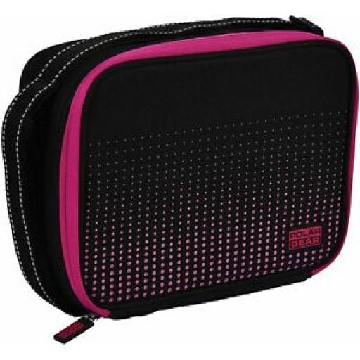 Polar Gear Munich Insulated Cooler Cool Lunch Bag Black With Purple Dots 1377