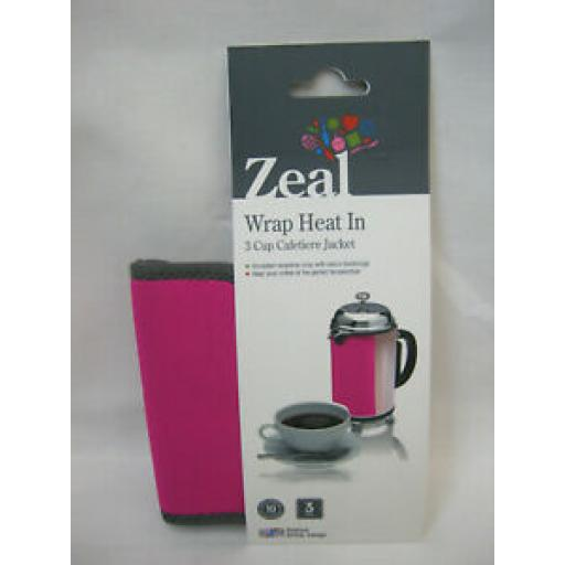 Zeal Cafetiere Insulated Thermal Heat Wrap Jacket 3 Cup Pink C123