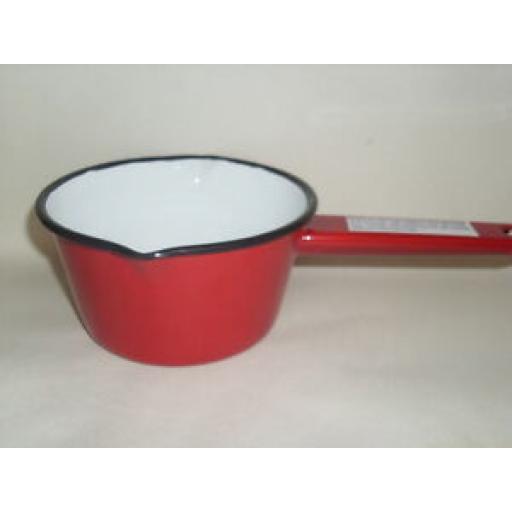 "Falcon Enamel Sauce Gravy Milk Pan 14cm Saucepan 5 1/2"" Oven Safe Red"