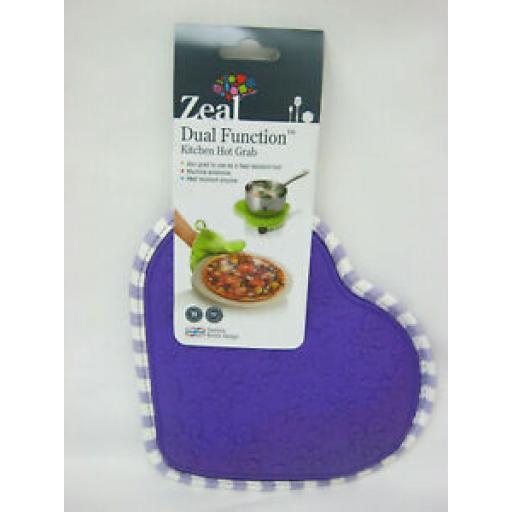 Zeal Heat Resistant Silicone Hot Grab Mat Heart Trivet V110 Purple Gingham 22cm