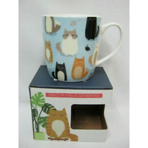 Puckator Bone China Mug Beaker Coffee Tea Cup Cute Cats MUG266