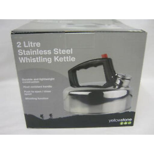 Yellowstone Camping Stove Whistling Kettle Hob Gas Stainless Steel 2 Litre