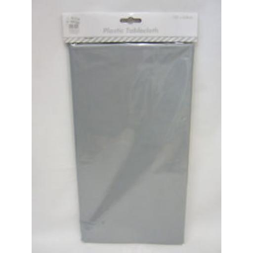 Festive Magic Plastic Tablecloth Cover Silver 132cm x 228cm XMO440