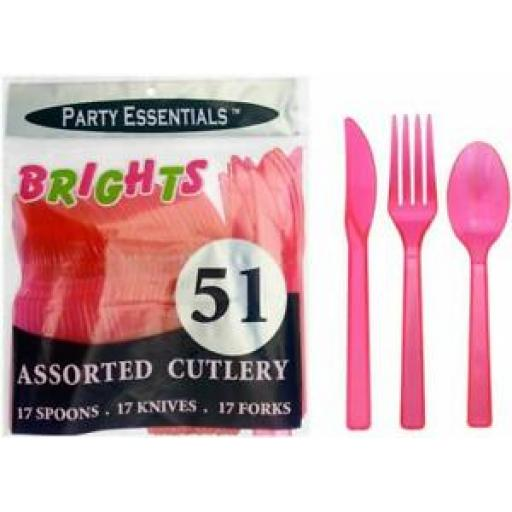 Brights Plastic Cutlery Knives Forks Spoons Pk 51 Neon Pink N245129