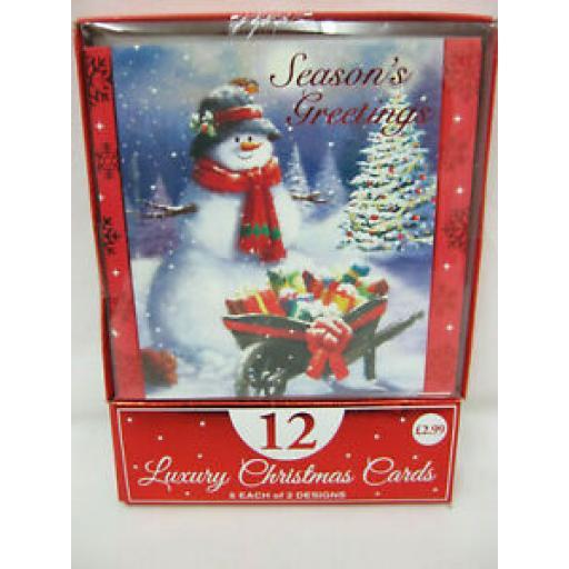 Eurowrap Luxury Christmas Cards Snowman Pk 12