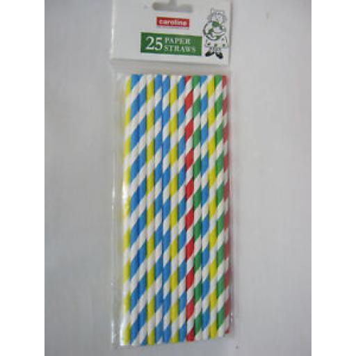 Caroline Paper Drinking Straws Pk25 100% Organic Compostable Striped 1646