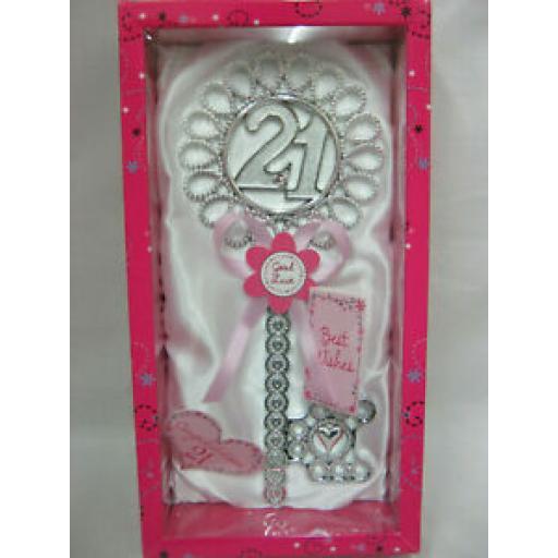 Giftzone Birthday Key Of The Door No 21 Birthday's White With Pink Ribbon HK108