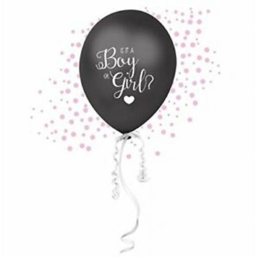 "Club Green Gender Reveal Black 16"" Balloon Pink Girl J004PK"