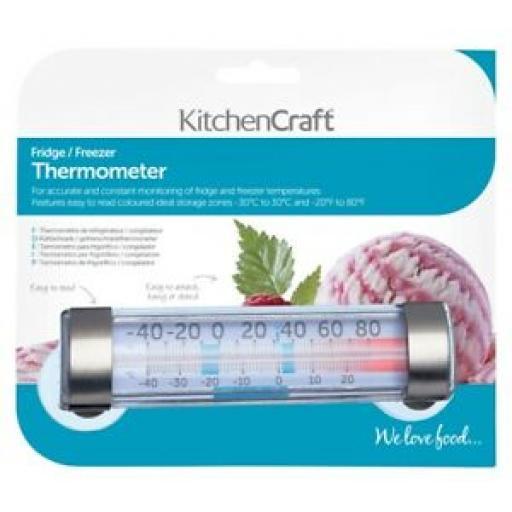 Kitchencraft Fridge Freezer Thermometer Temperature Gauge Oblong Stainless Steel