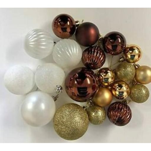 Christmas Tree Decoration Baubles Mix Colours White Gold Brown Assorted