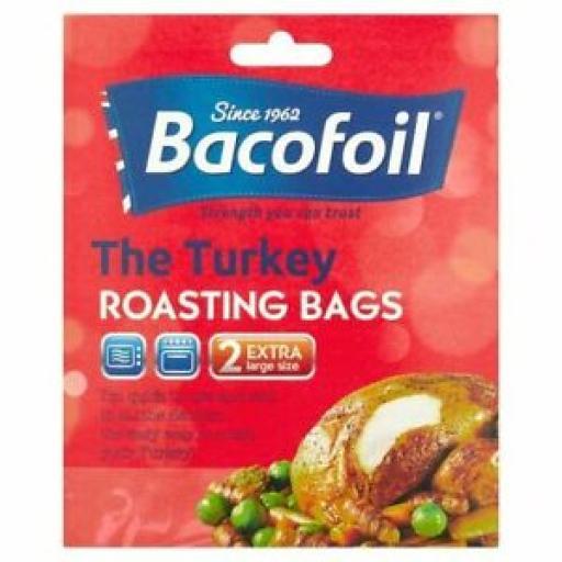 Bacofoil Turkey Roasting Bag Bags Pk 2 Large Size 45cm x 55cm
