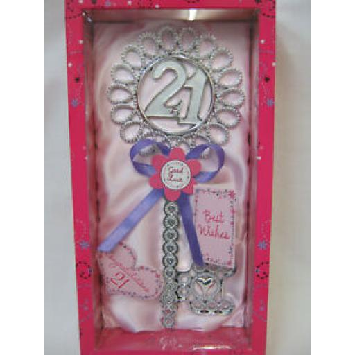 Giftzone Birthday Key Of The Door No 21 Birthday's Pink With Lilac Ribbon HK108