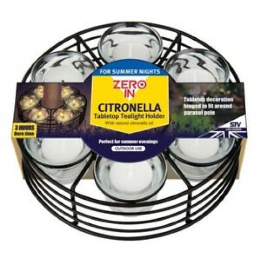 STV Zero In Citronella Tabletop Parasol Tealight Holder ZER454