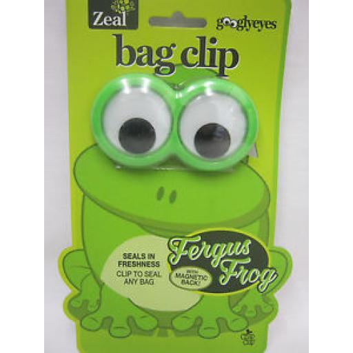 Zeal Googlyeyes Magnetic Bag Clip Seals In Freshness G52FROG Fergus Frog