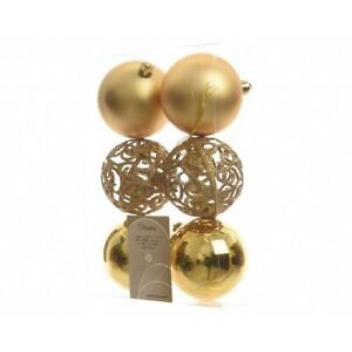 Decoris Kaemingk Baubles Pk6 Multi Finish Glitter Lattice 80mm Light Gold