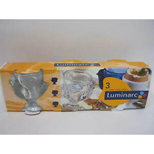 Luminarc Boiled Egg Cup Cups Glass Chickens Design Set Pk 3