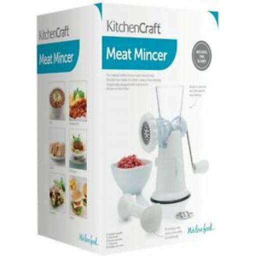 Kitchencraft Hand Meat Mincer White With Suction Clamp KCMINCERP