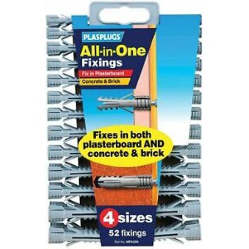 Plasplugs All In One Fixings Wall Plugs Pk 52 4 Assorted Sizes MFA500CC