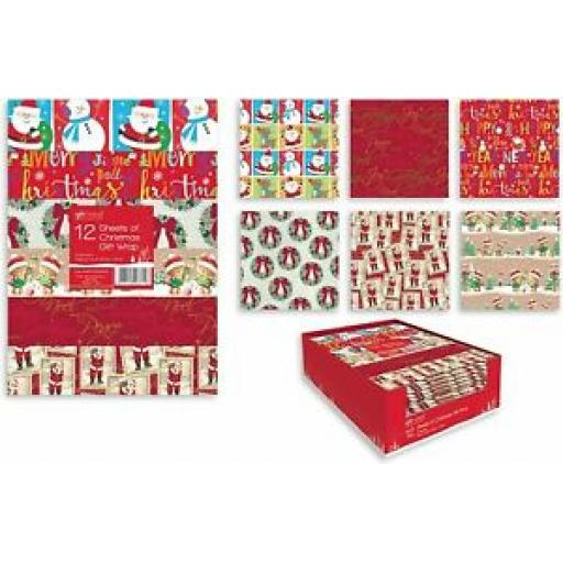 Christmas Gift Wrap Wrapping Paper Flat Pack Of 12 Sheets