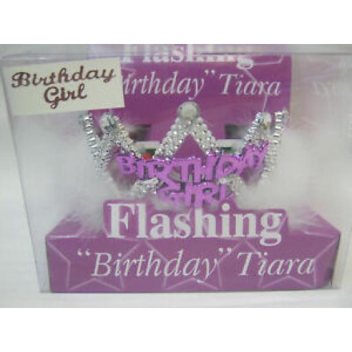 Alandra Flashing Birthday Girl Tiara FBTBG One Size Fur Trim
