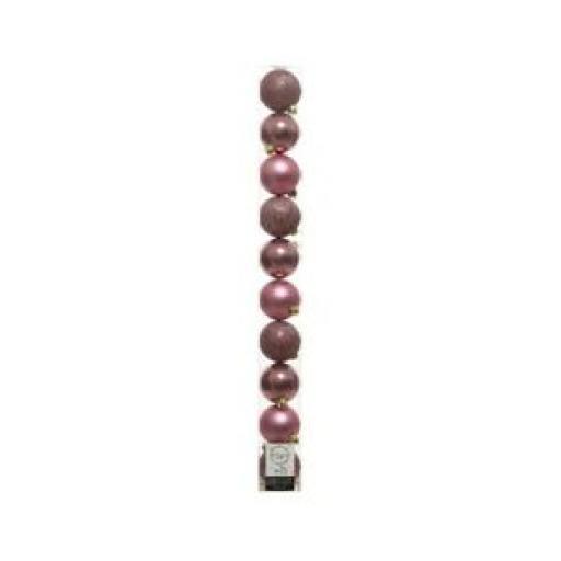 Decoris Kaemingk Assorted Baubles 60mm Velvet Pink Pk10