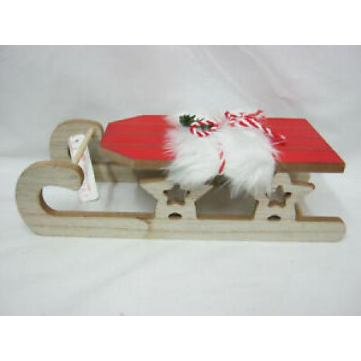 H & S Wooden Wood Sleigh Sledge Christmas Decoration 30CM 257227 Natural Red