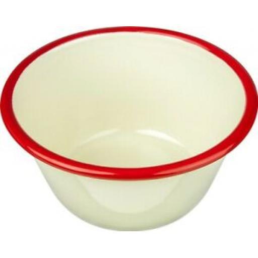 Falcon Enamel Pudding Basin Bowl Cream With Red Trim 12cm 659512