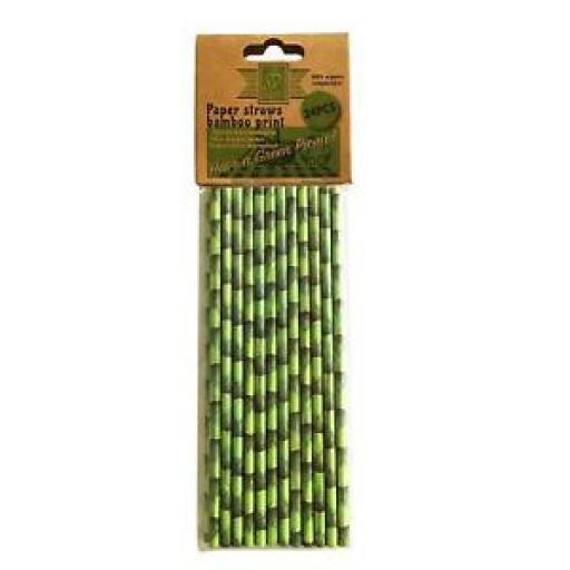 Paper Drinking Straws Bamboo Print Pk24 100% Organic Compostable