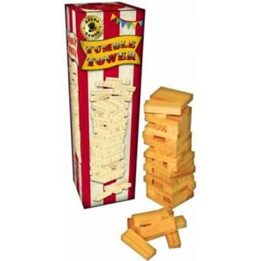 Retro Games Traditional Wooden Tumble Tumbling Tower Wood RFS10236