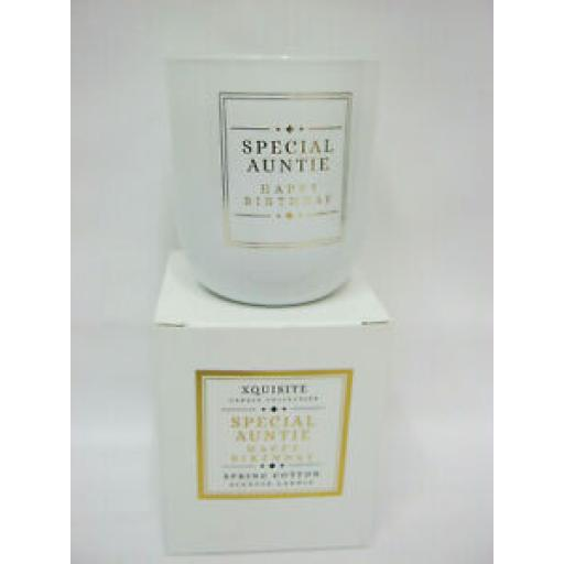 Xquisite Spring Cotton Scented Candle Glass Jar Happy Birthday Special Auntie