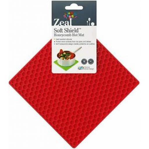 CKS Zeal Silicone Kitchen Honeycomb Hot Mat Square Trivet J352 Red