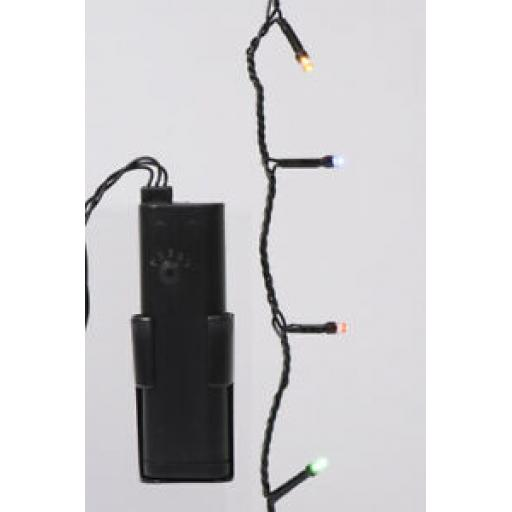 Durawise LED Battery Twinkle Tree Lights Black Cable 192 Lights Multi Coloured